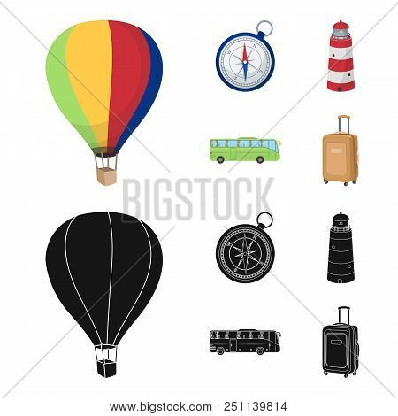 Vacation, Travel, Lighthouse, Compass .rest And Travel Set Collection Icons In Cartoon, Black Style