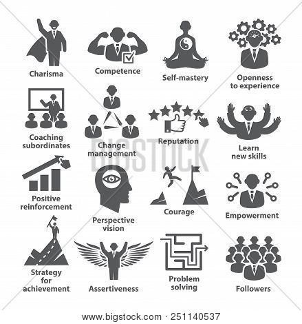 Business Management Icons Pack 45 Icons For Leadership, Idol, Career
