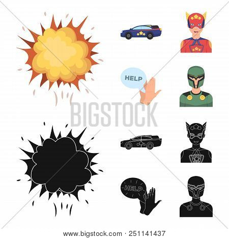 Explosion, Fire, Smoke And Other  Icon In Cartoon, Black Style.superman, Superforce, Cry, Icons In S