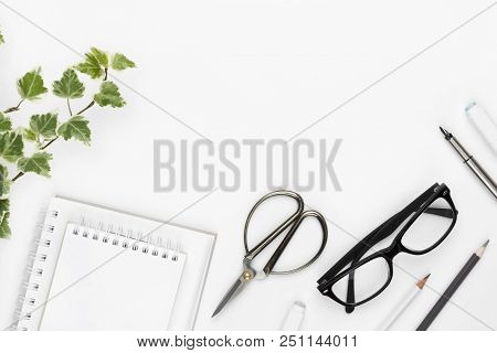 Office And School Supplies On White Background With Copy Space
