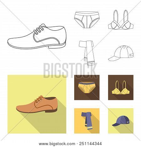 Male Shoes, Bra, Panties, Scarf, Leather. Clothing Set Collection Icons In Outline, Flat Style Vecto