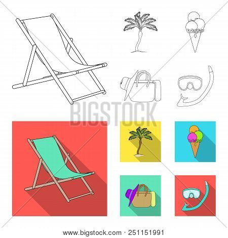 Beach, Palm Tree, Ice Cream.summer Vacation Set Collection Icons In Outline, Flat Style Vector Symbo