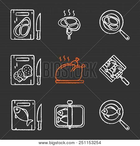 Food Preparation Chalk Icons Set. Cutting Boards With Bread, Meat And Fish, Frying Salmon And Meat S