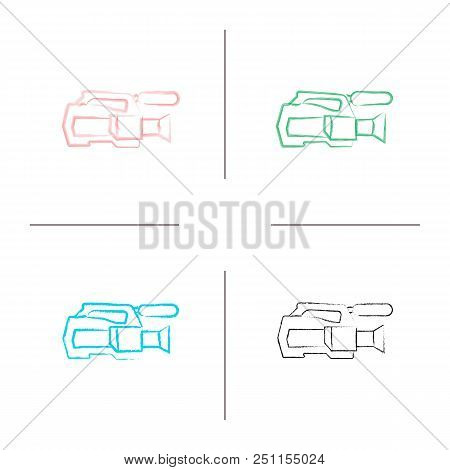 Video Camera Hand Drawn Icons Set. Videotaping. Color Brush Stroke. Isolated Vector Sketchy Illustra