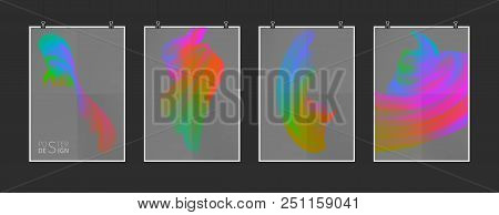 Stock Vector Illustration Multicolored Realistic Oil, Acrylic Paint. Acid Colors. Brush Strokes Set