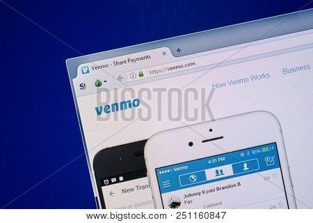 Ryazan, Russia - July 24, 2018: Homepage Of Venmo Website On The Display Of Pc. Url - Venmo.com