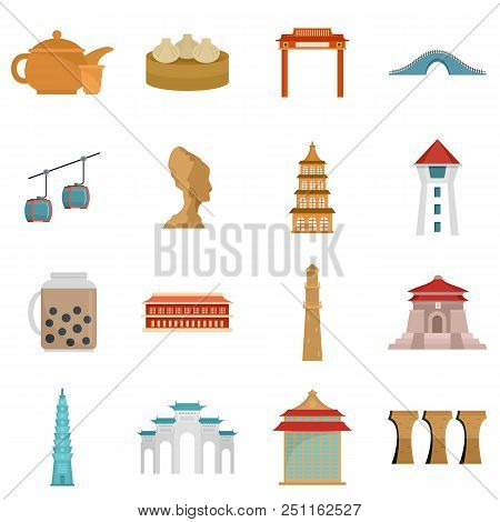 Taipei Taiwan City Skyline Icons Set. Flat Illustration Of 16 Taipei Taiwan City Skyline Vector Icon