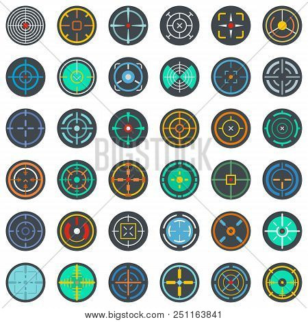 Crosshair target scope sight icons set. Flat illustration of 36 crosshair target scope sight vector icons isolated on white poster