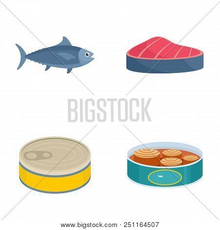 Tuna Fish Can Steak Icons Set. Flat Illustration Of 4 Tuna Fish Can Steak Vector Icons Isolated On W