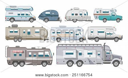 Caravan Vector Rv Camping Trailer And Caravanning Vehicle For Traveling Or Journey Illustration Tran