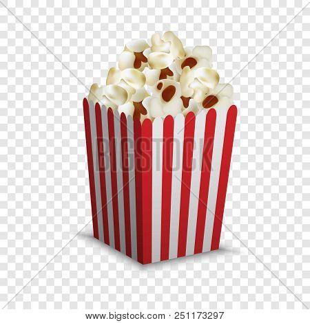 Stripped Popcorn Box Mockup. Realistic Illustration Of Stripped Popcorn Box Vector Mockup For On Tra