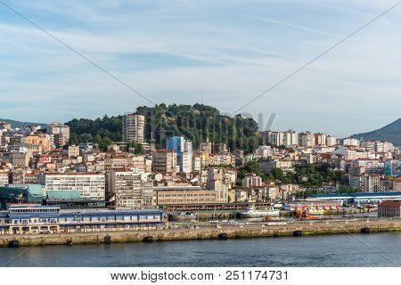 Vigo, Spain - May 20, 2017: Cityscape Of Vigo With The Cruise Terminal In The Foreground In Vigo, Ga