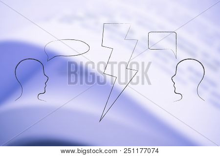 People Facing Each Other With Comic Bubble And Lightning Bolt Between Them, Concept Of Expressing Di