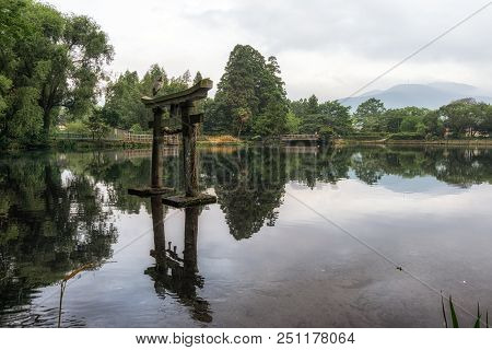Grey Heron On Lake Kinri Torii Gate