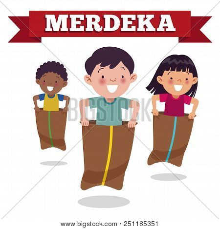 Traditional Indonesian Special Game On Independence Day, Children Race In Sacks. Merdeka Day Is Indo