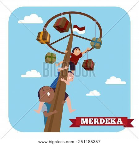 Indonesia Traditional Special Games During Merdeka Day Indonesian Independence Day. Children Climbed