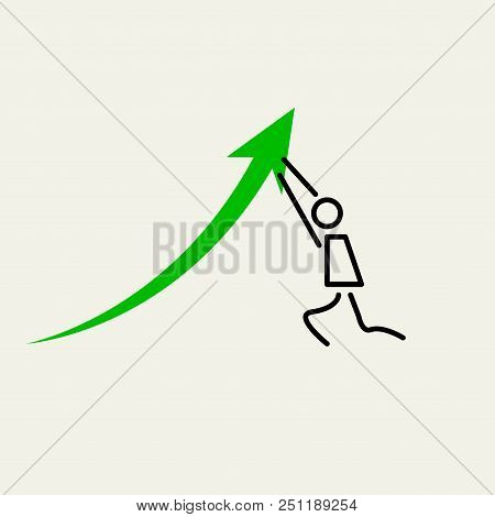 Man Pushing Upwards. The Little Man Pushes Graph Arrow Up. Vector Design Elements Set For Web Design