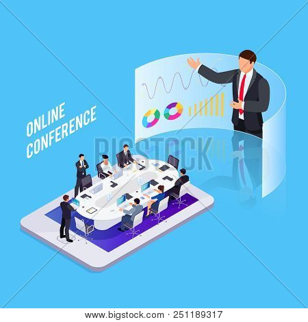 Conference Online. Isometric Business Concept. 3d Businessmen Sit At A Large Table And Listen To A R
