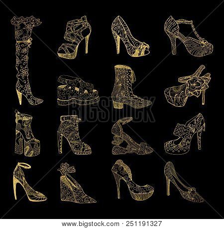 Set Of Isolated Sketches Of Golden Woman Shoes. Hand Drawn Peep Toe And Stiletto, Thigh High Or Knee