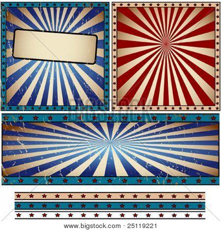 Vector rays retro banner