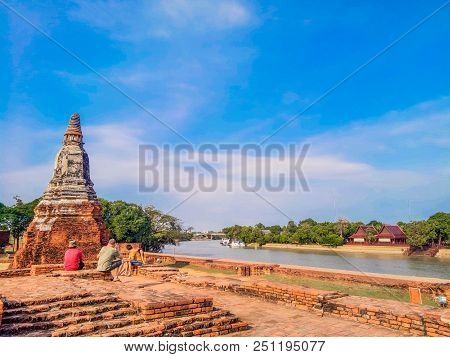 On April 1, 2018 At The Chao Phraya River  Wat Chaiwatthanaram Temple In Ayuthaya Historical Park, A