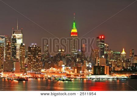 Manhattan Skyline At Christmas Eve