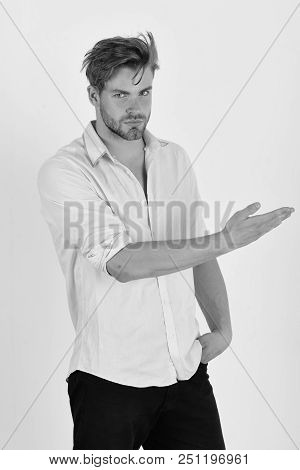 Man With Confident Face Isolated On White Background. Guy With Bristle In Pink Shirt And Messy Hair.
