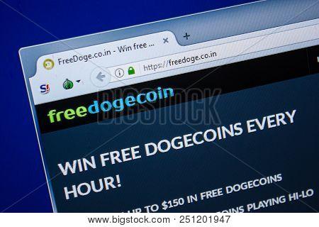 Ryazan, Russia - July 25, 2018: Homepage Of Freedoge Website On The Display Of Pc. Url - Freedoge.co