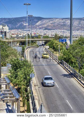 Traffic On Piraeus To Athens Highway At Neo Falir, Piraeus.