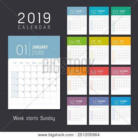 Year 2019 Colorful Calendar, Weeks Start Sunday - Vector Template.