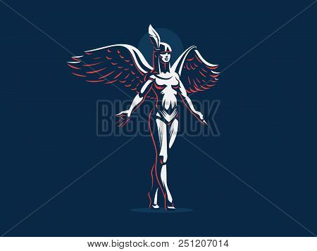 An Angel Girl Steps On Tiptoe With Arms Spread And Wings. Vector Illustration.