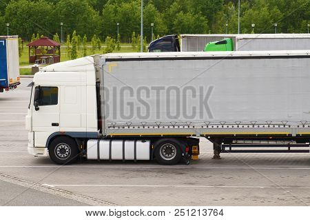 Parking Trucks At The Resting Place (truck Stop) Of Travelers.