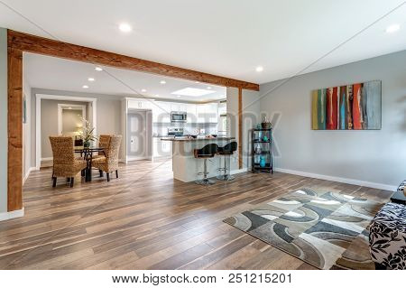 Open Concept Home Interior With Hardwood Floor.