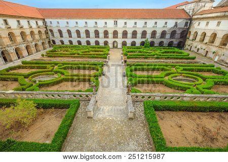 Aerial View Of Mosteiro De Santa Maria De Alcobaca With Cloister Of Silence. The Complex Of Alcobaca