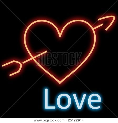 Neon Heart Arrow