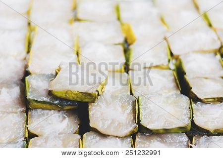 Patongkos On Tray With Banana Leaves Decoration Isolated On White With Clipping Path