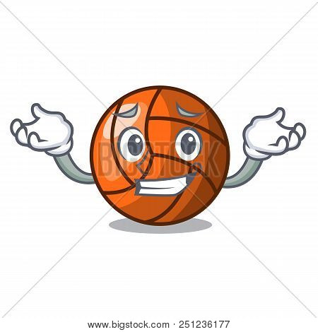 Grinning Volleyball Character Cartoon Style Vector Ilustration
