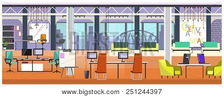 Modern Office With Panoramic Window Vector Illustration. Table With Computers And Chairs In Spacious