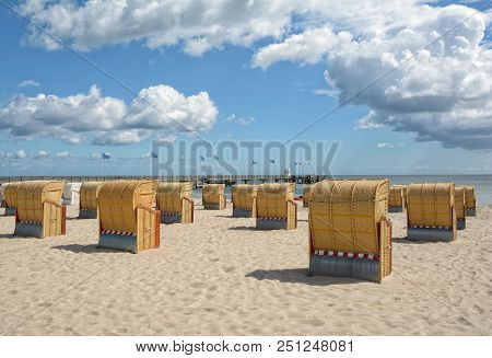 Beach And Pier Of Dahme At Baltic Sea,schleswig-holstein,germany