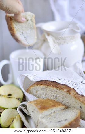 Homebaked Bread. Bakery Products. Milk In A Pitcher. Vintage Napkins And Tablecloth. Cut Apple.