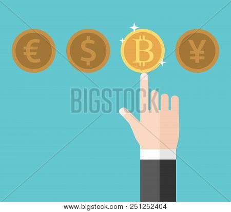 Hand Of Businessman Pointing At And Choosing Gold Shining Bitcoin Among Euro, Dollar And Yen. Curren