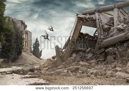 View On A Collapsed Concrete Industrial Building With Attack Helicopters Mi24 In Dark Dramatic Sky A