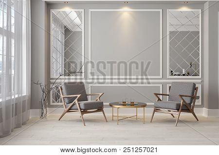 Classic Gray Modern Interior Empty Room With Lounge Armchairs, Table And Mirrors. 3d Render Illustra
