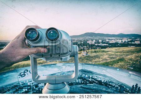 Sightseeing Tourist Telescope, Calvary, Nitra, Slovak Republic. Relaxing Tourists. Travel Destinatio