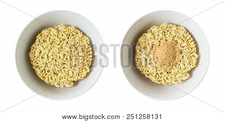 Cuisine And Food, Asian Ramen Dried Instant Noodles Blocks With Flavoring Powder For Cooked Or Soake