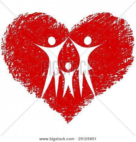 Familie Vektor mit hand gezeichneten Herz