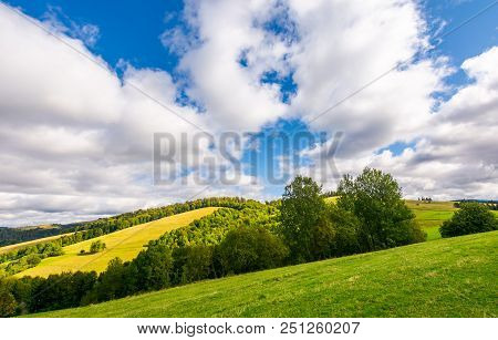 Peaceful Nature Scenery In Early Autumn. Beautiful Weather. Gorgeous Cloud Formation Over The Forest