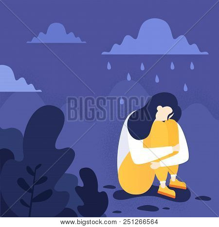 An Illustration Of A Depressed Person Sitting On The Floor. Mental Health, Including Ptsd And Suicid