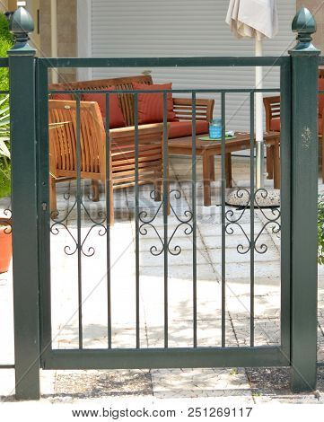 Green Metal Gate For The Private House