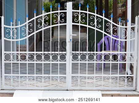 Metal White Gate For The Private House